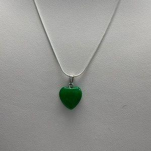 Jade Green Crystal Heart Necklace